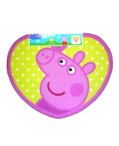 This Peppa Pig Shaped Floor Rug is the perfect finishing touch for any Peppa Pig themed bedroom or playroom. The cute heart shaped rug features a great image of Peppa on a yellow background.