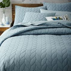 Braided Quilt Shams, blue or ivory, for oak bed bolsters #westelm