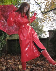 Red Raincoat, Vinyl Raincoat, Plastic Raincoat, Plastic Mac, Rain Wear, Red Riding Hood, Lady In Red, Wrap Dress, Leather Jacket