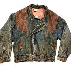 3f4079d41 Vintage 80s Urban Equipment blue denim leather jacket size large. 100% brown  leather accents. Depop