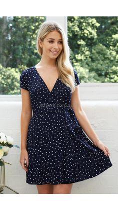 Cherie Wrap Dress in Navy Polka Dot