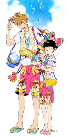 Reigen Arataka and Kageyama Shigeo #summerclothes #swimsuit