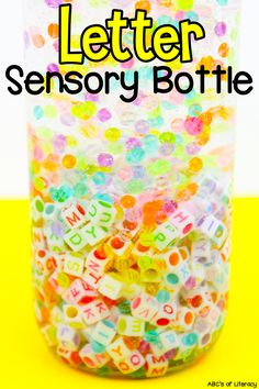 "Are you looking for a sensory play activity that will help your kids with their letter recognition too? Then, this Letter Sensory Bottle is perfect for you! This sensory activity is easy to make and there are so many different ways to use it. Click on the picture to learn how to make and use this sensory bottle. Plus, you can get the free printable ""I Spy Letters"" recording sheet to use with the sensory activity! #sensorybottle #sensoryactivity #letterrecognition #learningtheabcs #sensoryplay"