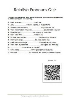 Relative Pronouns Quiz   photocopiables