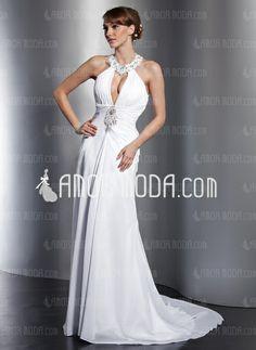 Wedding Dresses - $162.99 - A-Line/Princess Halter Court Train Chiffon Wedding Dress With Ruffle Lace Beadwork Sequins (002012762) http://amormoda.com/A-line-Princess-Halter-Court-Train-Chiffon-Wedding-Dress-With-Ruffle-Lace-Beadwork-Sequins-002012762-g12762