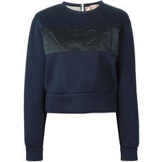 Nº21 Embossed Logo Sweatshirt (8669580 BYR) ❤ liked on Polyvore featuring tops, hoodies, sweatshirts, blue, sweatshirts hoodies, sweat tops, n°21, blue top and sweat shirts