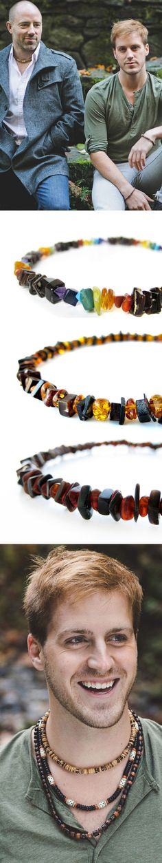 Love wins! - Casual mens style tips with layered necklaces by Jenny Hoople of Authentic Arts - Gay pride rainbow necklace.