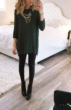 Hunter green tunic + coated jeans