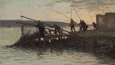 """Fausto Zonaro (Italian, 1854-1929),  """" Pescatori alla bilancia 3, sul Bosforo"""""""
