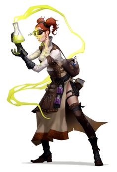 Female human alchemist - pathfinder pfrpg dnd d&d fantasy Steampunk Characters, Robots Characters, Dungeons And Dragons Characters, Fantasy Characters, Female Characters, Female Character Design, Character Concept, Character Art, Pathfinder Character