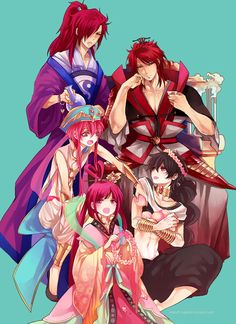 Magi: The Labyrinth of Magic// Ren Kougyoku, Ren Kouen, Ren Koumei, Ren Kouha and Judal