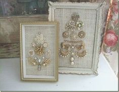 Love the burlap backing instead of felt!  Love the small size, too!  #VintageJewelry