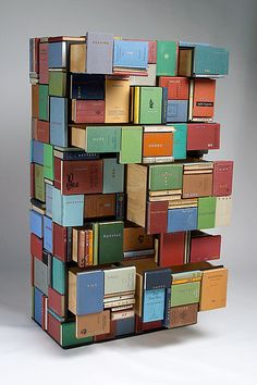 Stack 2005 by Patrick Hall. plywood, collected books, typewriter keys172.0 (h) x 97.0 (w) x 50.0 (d) cm