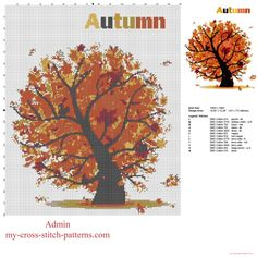 Autumn tree with falling leaves free cross stitch pattern download