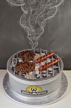 The Grill Master Cake w/ Coal Mini Tutorial Fondant Cakes, Cupcake Cakes, Bbq Cake, Chef Cake, Funny Cake, Cake Blog, Crazy Cakes, Specialty Cakes, Novelty Cakes