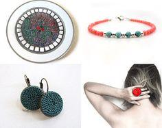 Minimalist teal round earrings. Silk fiber crochet jewelry. Simple essential elegance. Bohemian style. Antique brass leverback earrings.