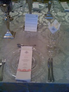 The menu escort cards and the cootie catcher in the wine glass (the cootie catcher had info about the couple that guests may not have known) Beautiful Day, Catcher, Wine Glass, Couple, Table Decorations, Cards, Wedding, Receptions, Valentines Day Weddings