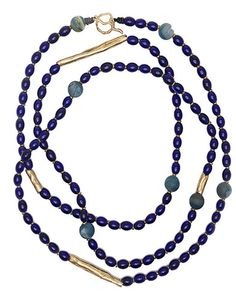 Julie Cohn Design: Jacques Necklace. Indigo African glass with bronze cocoon beads and blue druzy agate beads - 65 inches.