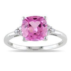 Miadora 10k Gold Created Pink Sapphire Ring