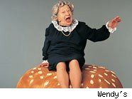 """The Wendy's """"Where's The Beef"""" ads. Actress was 81 year old Clara Peller."""