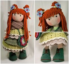 Please note: This listing is for a CROCHET PATTERN to make the pictured doll and NOT FOR A FINISHED ITEM  This pattern is availabe in ENGLISH, FRENCH, DUTCH and GERMAN language.  This listing is for an extensive PDF file which contains full instructions for crocheting and finishing off the doll ELLIE. The file is 25 pages long and contains a lot of detailed step-by-step photographs along with full pattern instructions and tips for crocheting, jointing and finishing neatly. Only the scarf…