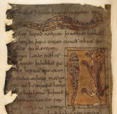 Image from the Medieval and Earlier Manuscripts blog post 'Monsters and Marvels in the Beowulf Manuscript'