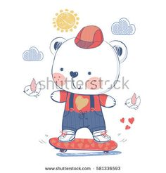 bear on a skateboard/hand drawn vector illustration/can be used for kid's or baby's T-shirt print design/fashion graphic/ kids wear/ baby shower card/celebration card/ greeting card/invitation card.