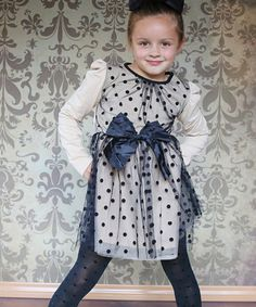 Another great find on #zulily! Black Polka Dot Lace Overlay Dress - Toddler & Girls #zulilyfinds