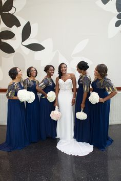 Navy and Gold Bridesmaids Dresses by Virgos Lounge