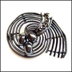Spider Web Pin Black Glass Halloween Brooch 1950s Vintage Jewelry $45