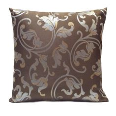 Chocolate color Silk Blend Pillow Cover with Blue and Tan Floral Pattern
