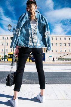 #muserebelle #streetstyle #fashion #blogger #Athens #ripped jeans jacket