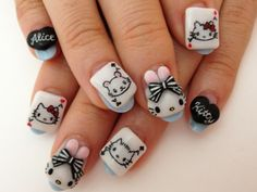 Hello Kitty Nails, 3d Cartoon, Manicures, Sanrio, Nail Art Designs, My Nails, Nailart, Makeup, Beauty