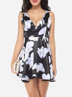 Cross Straps V Neck Dacron Hollow Out Printed Skater Dress