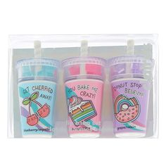 Claire s Slushie Sweets Lip Balm Set - 3 Pack Sephora Lip Stain, Sephora Lipstick, Dark Lipstick, Sephora Makeup, Kids Makeup, Cute Makeup, Gorgeous Makeup, Chapstick Lip Balm, Lip Care