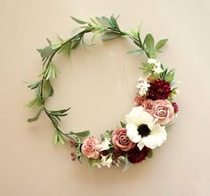 "H O O P / W R E A T H This sweet, cheerful little wreath just brightens the day :) A 10"" steel hoop is adorned with faux leaves, flowers and succulents in pink, raspberry, white and sage. Its adorable for a little girl's room, wedding decoration or anywhere around the home or"