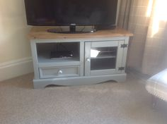 TV unit - Finished with Paris grey, clear varnish for sides and mix of dark wax and clear wax for wood after sanding the wood on top. Love the stag handles....happy project that makes me smile!