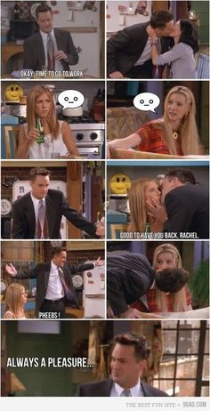 """You know you've seen this episode too many times if you read """"always a pleasure"""" EXACTLY how Chandler says it :D"""