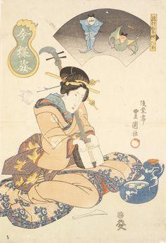 Utagawa Toyokuni II Japanese, 1777-1835 Utagawa Kunisada, previous attribution Japanese, 1786-1865 Yamamotoya Heikichi, publisher Japanese A whimisical picture: Beauty with samisen (Ryuko kyoga jinboku), Figures in the modern style, 1830's Polychrome woodblock print/RISD Museum