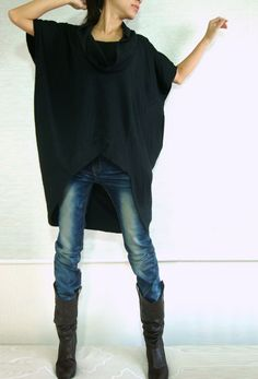 Women Black Cotton Asymmetrical Oversized T-Shirt Tunic Dress Plus Size Top