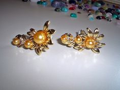 Ladies Pretty Vintage 80's Gold Tone Floral Faux Pearl Clip On Earrings by AnotherTimeGiftShop on Etsy