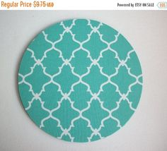 SALE - mousepad / Mouse Pad / Mat round  or rectangle - Trellis in aqua blue desk office accessory coworker gift