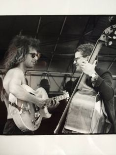 """Guess you missed the dress code memo, eh, kiddo?"" Pat Metheny & Charlie Haden, ca. 1986"