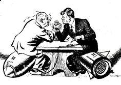 Mavo 2:  plaatje laat zien dat er veel spanning was tussen de VS en sovjet unie.