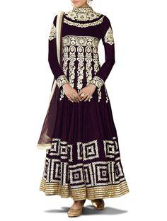 Purple Velvet Mughal Style Designer Anarkali Suit With Matching Chiffon Dupatta