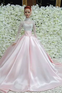 Pink satin Barbie Ballgown