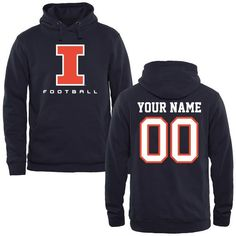 best sneakers 5f5b5 86334 Illinois Fighting Illini Personalized Football Pullover Hoodie - Navy