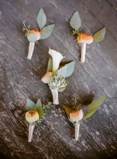 Peach and succulent wedding boutonnieres