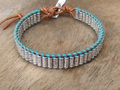 Silver Beads Wrap Brown Leather Bracelet