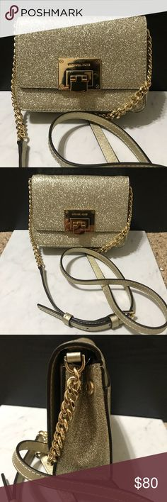 Brand NWT MK Pale Gold Glitter Tina Crossbody New release! From the Winter 2017 Holiday Collection!! Brand NWT. 100% authentic. No trades or PayPal. Michael Kors Bags Crossbody Bags